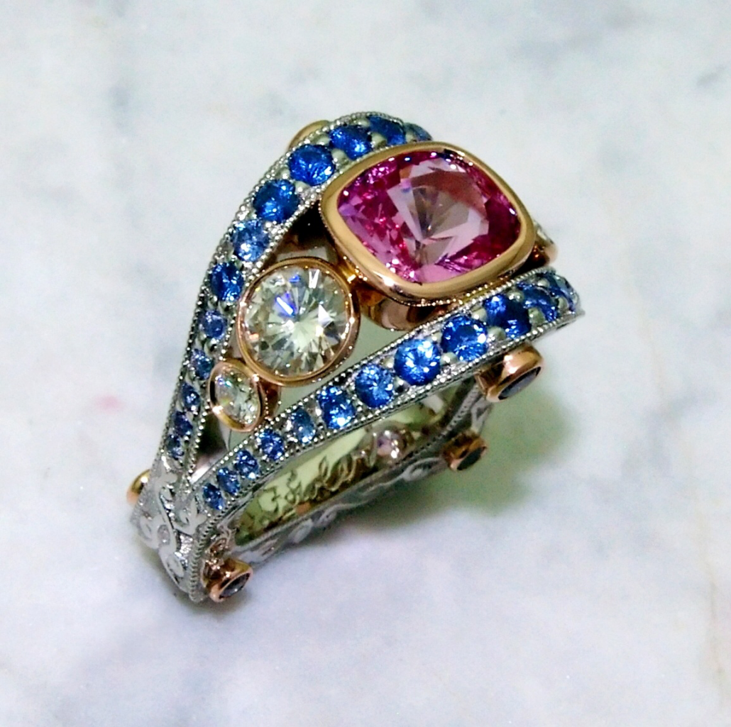 Pink Sapphire Ring With Blue Yogo Sapphire Accents