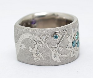 Palladium Hand Engraved Diamond Ring