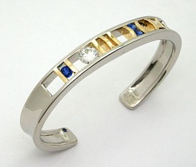 Custom Diamond and Sapphire Cuff Bracelet