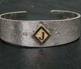 Sterling Silver cuff with diamond accents Bracelet