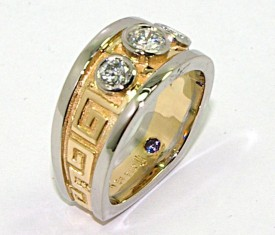 Hand Engraved Diamond Ring - Yellow Gold and Palladium