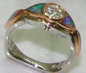 Custom Diamond & Opal Engagement Ring