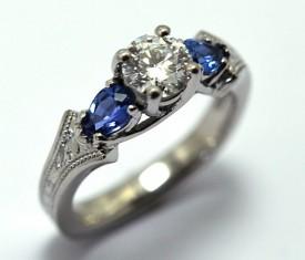 Custom Diamond & Yogo Sapphire Ring