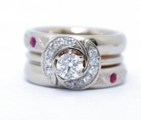 Customized Wedding Set – Diamonds, Ruby & Sapphier