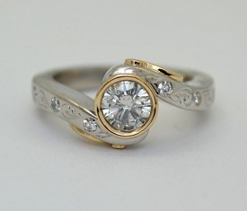 Hand Engraved Diamond Ring By Elichai