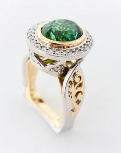 Afghan Green Tourmaline & Diamond Ring