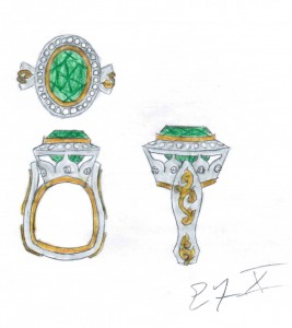 Sketch: Afghan Green Tourmaline & Diamond Ring