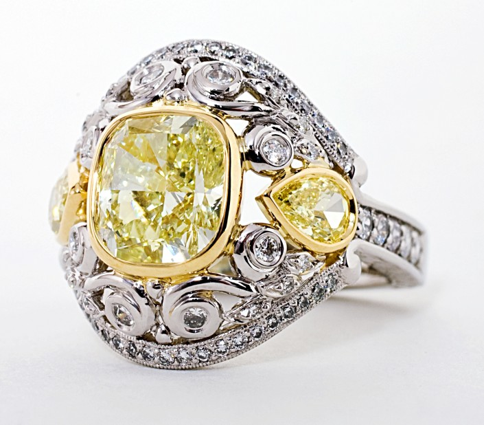 Custom 4.20 cttw Natural Yellow Diamond Ring