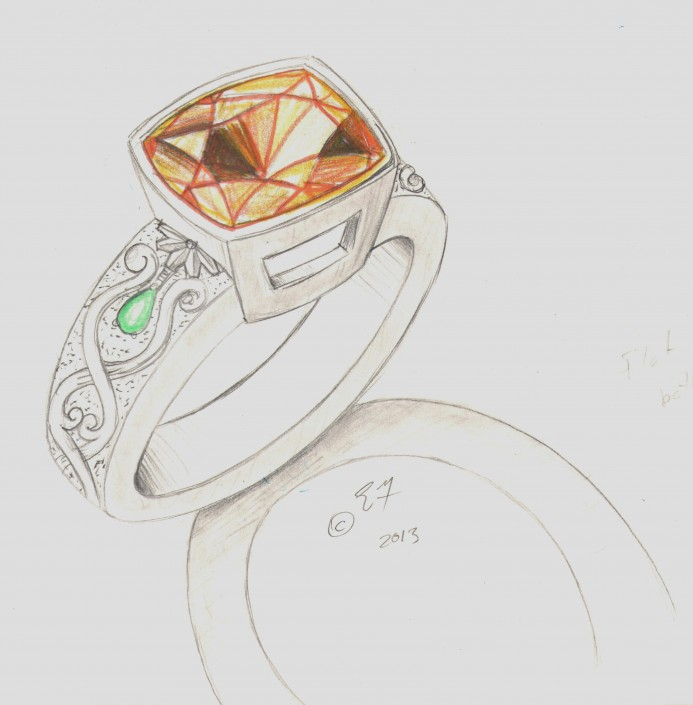 Sketch - Custom Topaz & Peridot Hand Engraved Ring