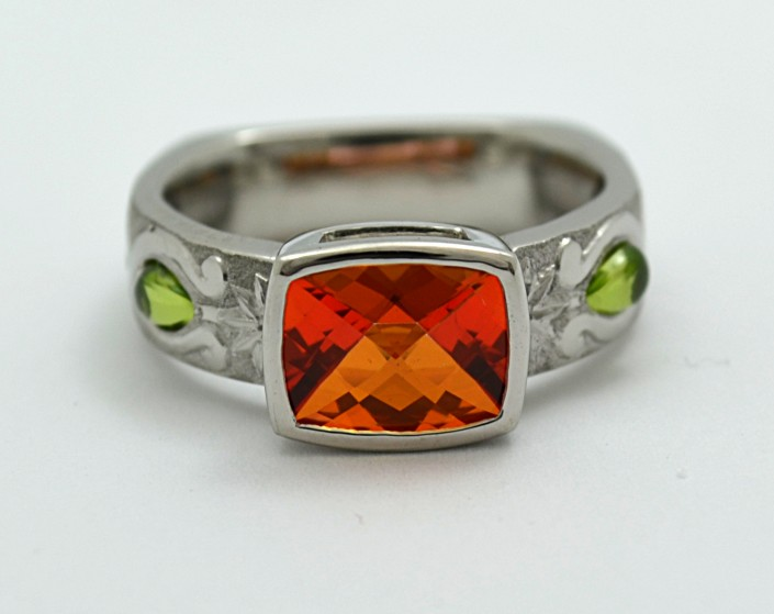 Custom Topaz & Peridot Hand Engraved Ring