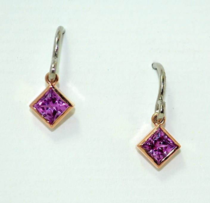 Princess Cut Pink Sapphire Drop Earrings