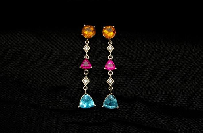 Rough Sapphire & Diamond Earrings