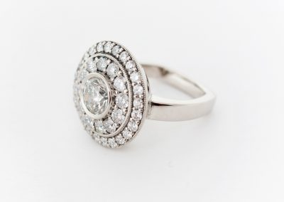 1.00ct diamond center halo ring, engagement ring, palladium