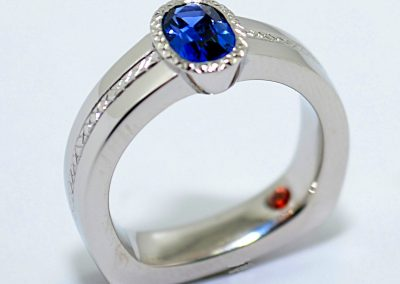 .75ct Yogo Sapphire, engagement ring, bezel set, modern, hand engraved, Orange Montana Sapphire accent, platinum