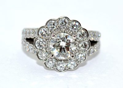 1.05ct diamond halo engagement ring, palladium
