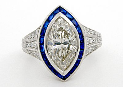 2ct marquise diamond, custom engagement ring, vintage syle, sapphire accents, filigree , hand engraved