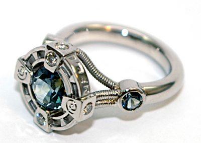 Custom engagement ring, Montana sapphire, sci-fi, futuristic, stargate, palladium