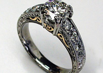 Classic diamond engagement ring, vintage style, filigree, hand engraved, palladium, 18k gold