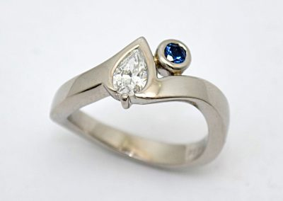 """Chef's ring"", modern style, diamond , yogo sapphire engagement ring, flush set, palladium"