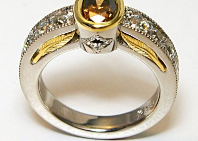 Brown diamond engagement ring, 18k golf feathers, palladium, vintage style