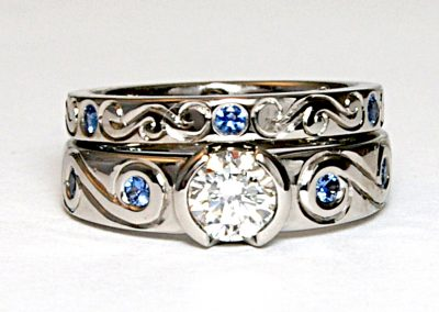 .75ct diamond wedding ring set, Yogo sapphire accents, palladium