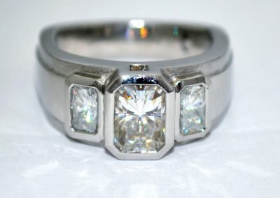 Custom 3 stone engagement ring , palladium