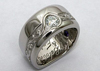 .30ct custom engagement ring , hand engraved, palladium