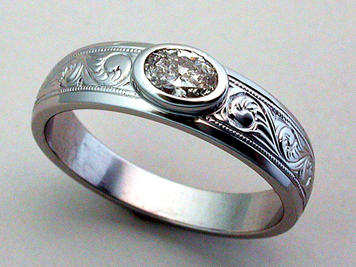 35ct Diamond Custom Engagement Ring Bezel Set Western Engraving 14k White Gold: Handmade Western Style Wedding Rings At Reisefeber.org