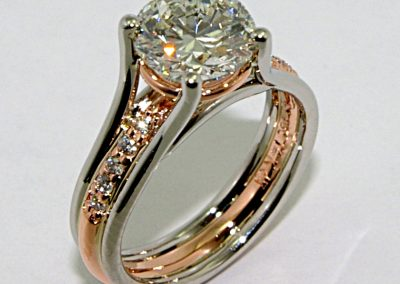 2ct diamond engagement ring , hand fabricated in platinum and 14k rose gold / 14k pink gold (both are accurate)