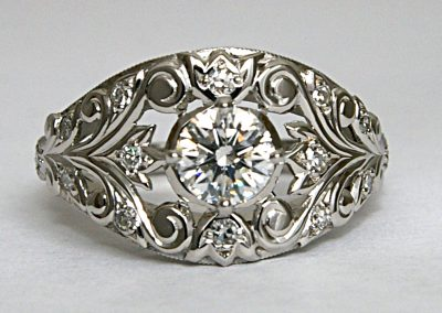 .50ct diamond filigree ring, vintage style, engagement ring, handcrafted in platinum