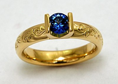 .50ct Montana Sapphire, yogo sapphire engagement ring, bar set, hand engraved, 18k gold