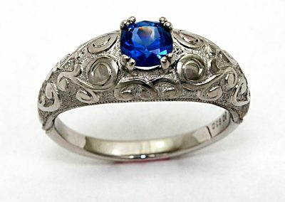 .85ct Montana Sapphire, hand engraved, engagement ring, palladium